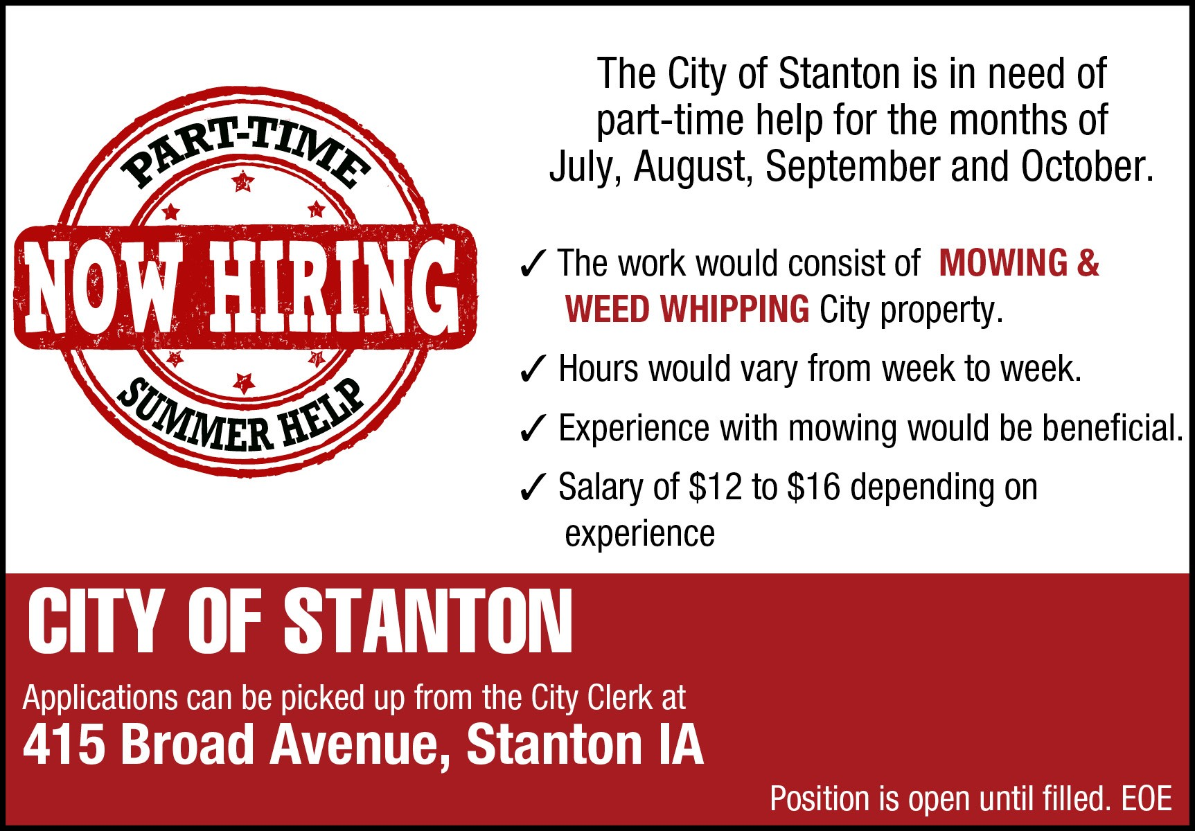 City of Stanton Part-Time Job Opening